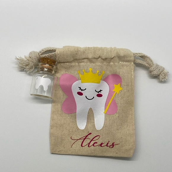 Tooth fairy bag with crystal vial.